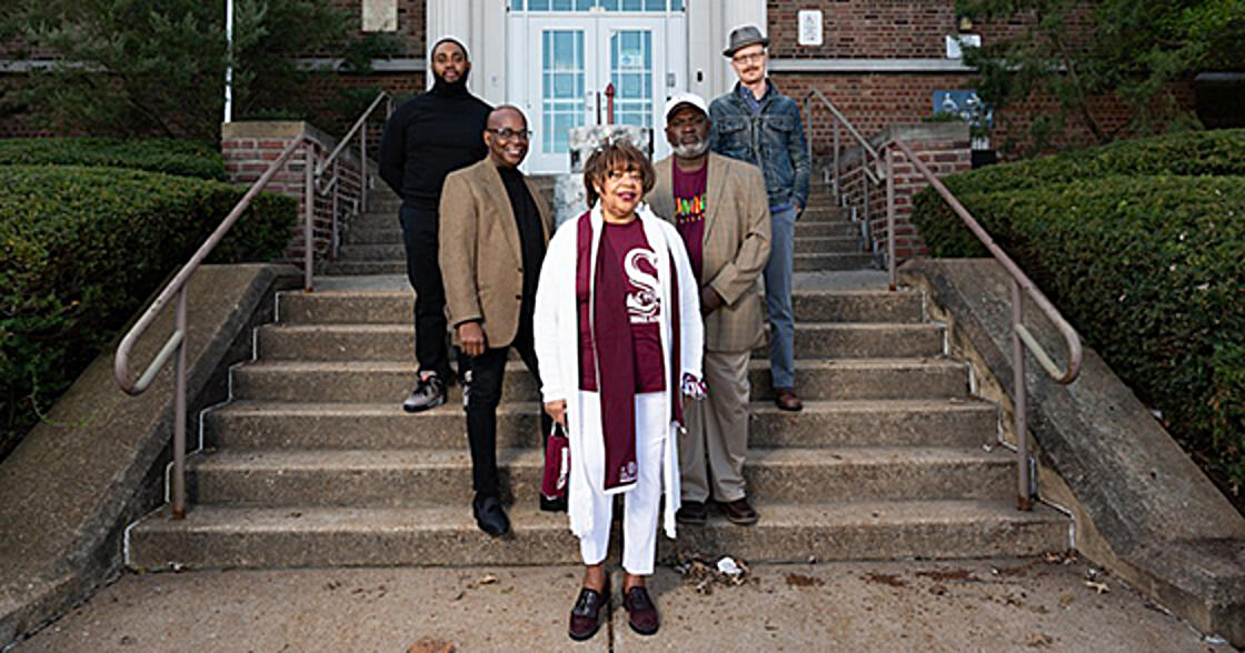 From left, 4theVille's Aaron Williams, alumnus Dr. Robert Salter, alumna Jacqueline Vanderford, alumnus Michael Blackshear, and St. Louis Shakespeare Festival's Tom Ridgely were some of the Ville leaders, artists, and alumni who penned a proposal to reimagine a new arts program for Sumner High School.